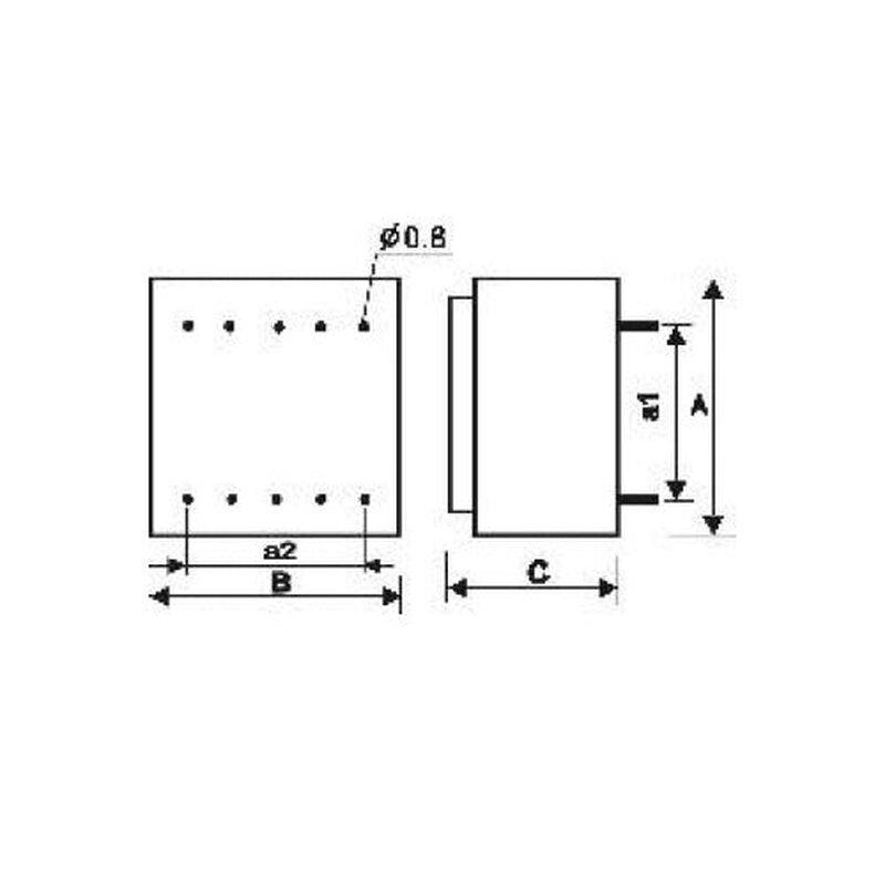 pcb transformer 2x12v 16va  6 50